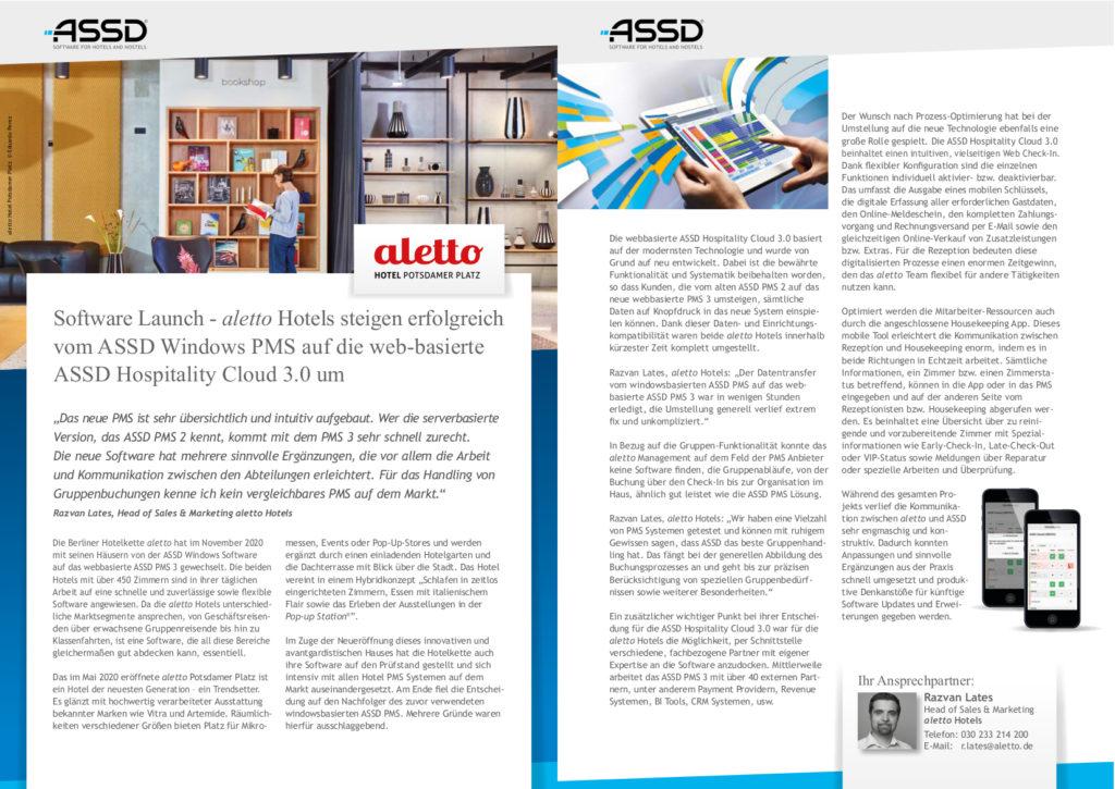 Case Study über den Launch der ASSD Hospitality Cloud 3.0 im aletto hotel Potsdamer Platz und aletto hotel Kudamm